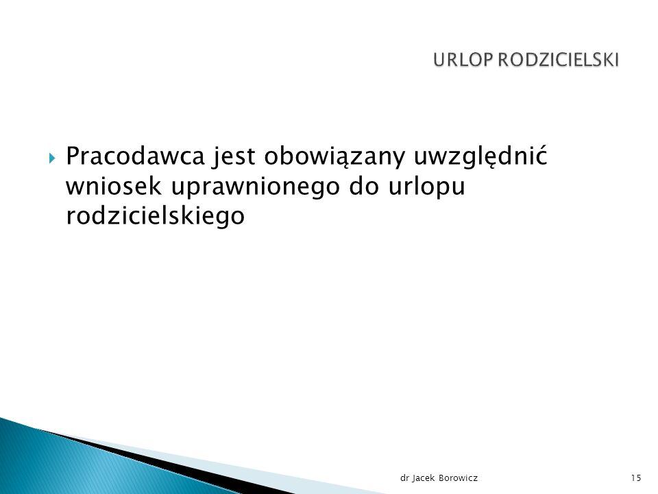  Pracodawca jest obowiązany uwzględnić wniosek uprawnionego do urlopu rodzicielskiego dr Jacek Borowicz15
