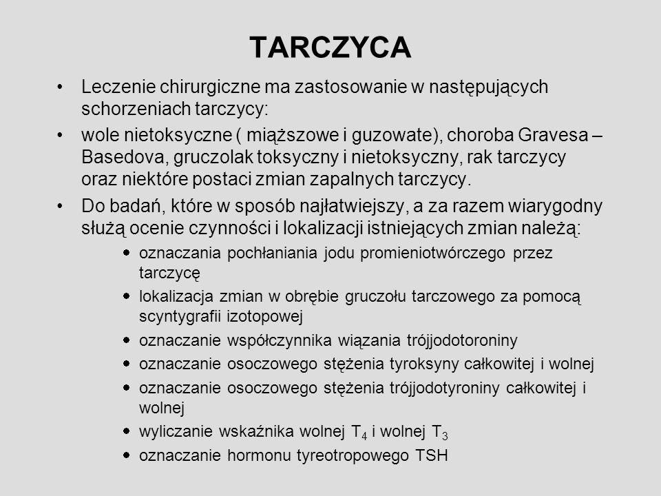 TARCZYCA Leczenie chirurgiczne ma zastosowanie w następujących schorzeniach tarczycy: wole nietoksyczne ( miąższowe i guzowate), choroba Gravesa – Basedova, gruczolak toksyczny i nietoksyczny, rak tarczycy oraz niektóre postaci zmian zapalnych tarczycy.