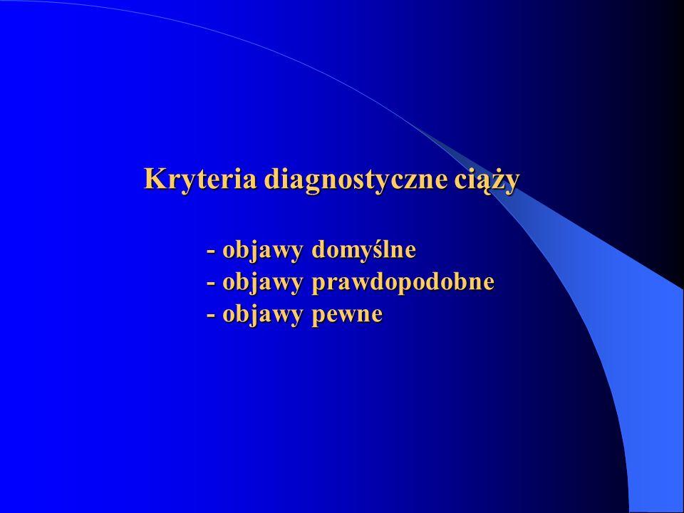 Kryteria diagnostyczne ciąży - objawy domyślne - objawy prawdopodobne - objawy pewne Kryteria diagnostyczne ciąży - objawy domyślne - objawy prawdopod
