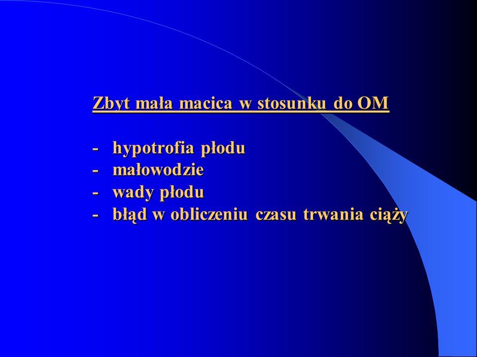 Zbyt mała macica w stosunku do OM - hypotrofia płodu - małowodzie - wady płodu - błąd w obliczeniu czasu trwania ciąży Zbyt mała macica w stosunku do