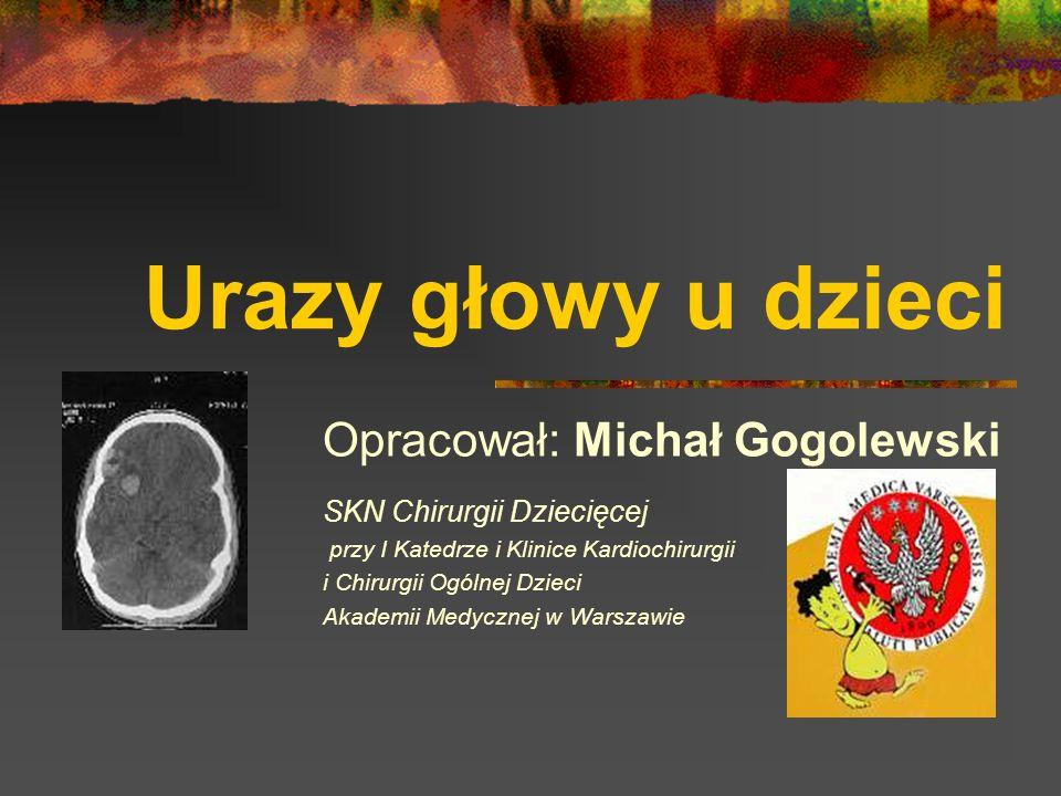Krwiaki podtwardówkowe - objawy, postępowanie Objawy zależą od: siły urazu Lokalizacji krwiaka Czasu (od urazu) W CT: sierpowata, hiperdensyjna zmiana przy powierzchni mózgu, Graniczy z ogniskiem stłuczenia mózgu Zmiany charakterystyczne dla obrzęku mózgu Postępowanie: Chirurgiczne usunięcie Jeżeli jest za mały – koniecznie kontrolne CT!!!