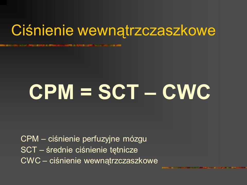 Ciśnienie wewnątrzczaszkowe CPM = SCT – CWC CPM – ciśnienie perfuzyjne mózgu SCT – średnie ciśnienie tętnicze CWC – ciśnienie wewnątrzczaszkowe