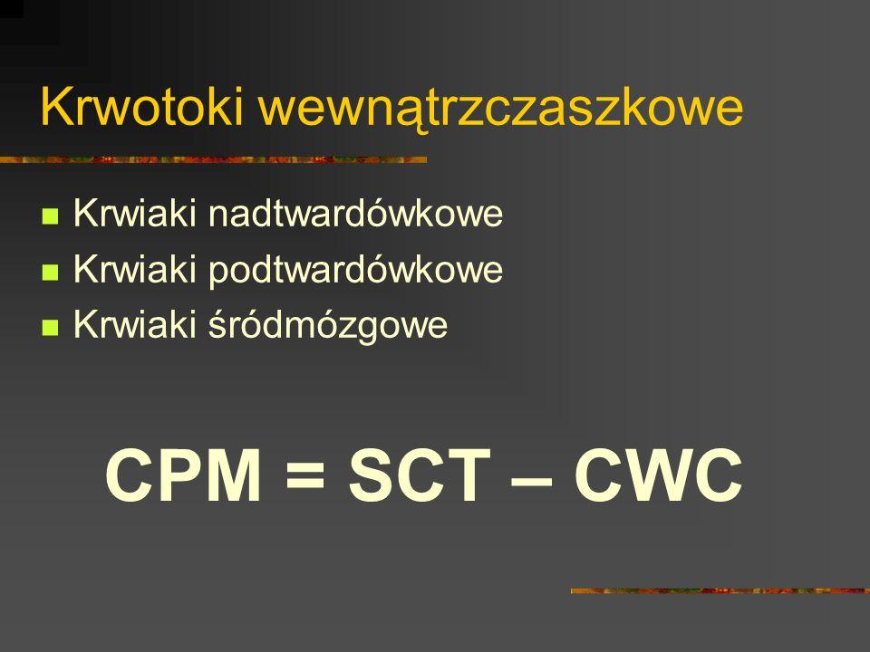 Krwotoki wewnątrzczaszkowe Krwiaki nadtwardówkowe Krwiaki podtwardówkowe Krwiaki śródmózgowe CPM = SCT – CWC
