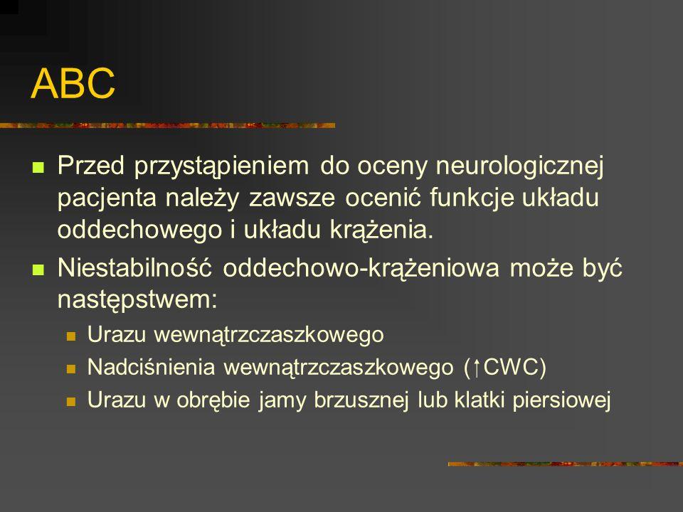 ABC Przed przystąpieniem do oceny neurologicznej pacjenta należy zawsze ocenić funkcje układu oddechowego i układu krążenia. Niestabilność oddechowo-k