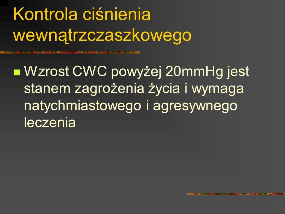 Kontrola ciśnienia wewnątrzczaszkowego Wzrost CWC powyżej 20mmHg jest stanem zagrożenia życia i wymaga natychmiastowego i agresywnego leczenia