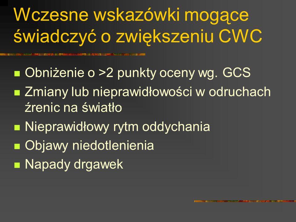 Wczesne wskazówki mogące świadczyć o zwiększeniu CWC Obniżenie o >2 punkty oceny wg. GCS Zmiany lub nieprawidłowości w odruchach źrenic na światło Nie