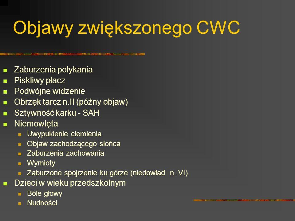Objawy zwiększonego CWC Zaburzenia połykania Piskliwy płacz Podwójne widzenie Obrzęk tarcz n.II (późny objaw) Sztywność karku - SAH Niemowlęta Uwypukl