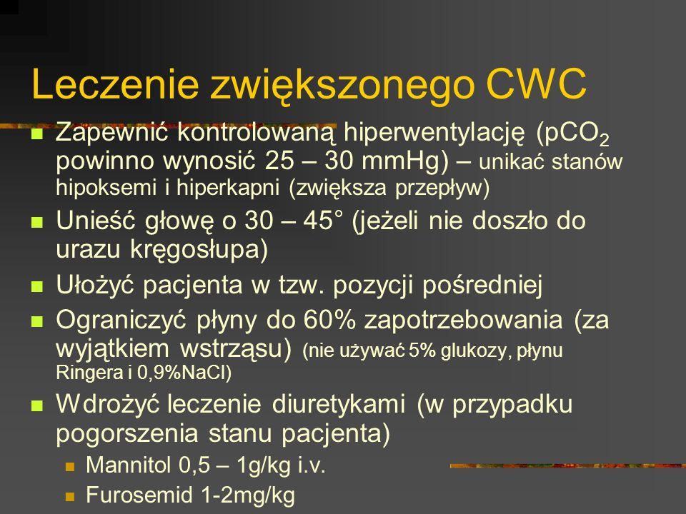 Leczenie zwiększonego CWC Zapewnić kontrolowaną hiperwentylację (pCO 2 powinno wynosić 25 – 30 mmHg) – unikać stanów hipoksemi i hiperkapni (zwiększa