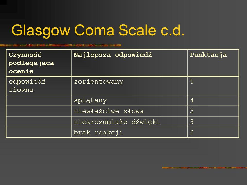 Glasgow Coma Scale c.d. Czynność podlegająca ocenie Najlepsza odpowiedźPunktacja odpowiedź słowna zorientowany5 splątany4 niewłaściwe słowa3 niezrozum