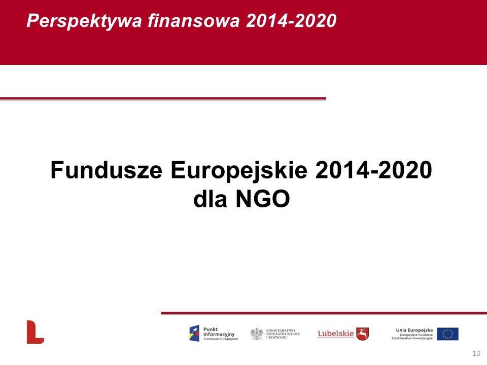 Perspektywa finansowa 2014-2020 10 Fundusze Europejskie 2014-2020 dla NGO