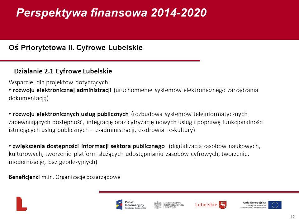 Perspektywa finansowa 2014-2020 12 Działanie 2.1 Cyfrowe Lubelskie Wsparcie dla projektów dotyczących: rozwoju elektronicznej administracji (uruchomie