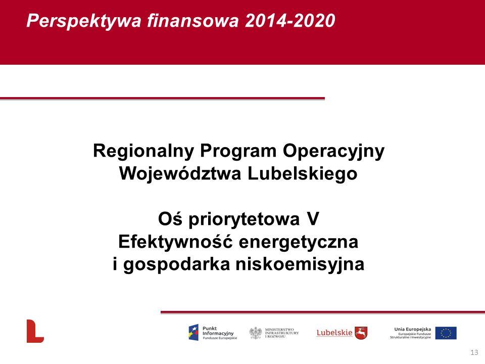 Perspektywa finansowa 2014-2020 13 Regionalny Program Operacyjny Województwa Lubelskiego Oś priorytetowa V Efektywność energetyczna i gospodarka nisko