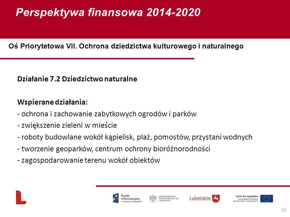 Perspektywa finansowa 2014-2020 20 Działanie 7.2 Dziedzictwo naturalne Wspierane działania: - ochrona i zachowanie zabytkowych ogrodów i parków - zwię