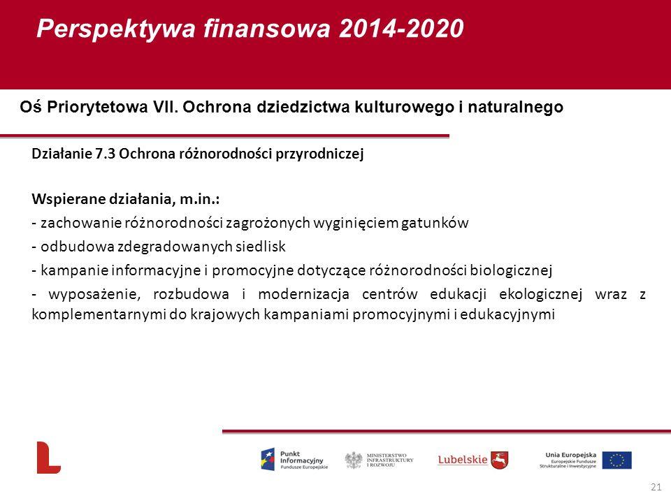 Perspektywa finansowa 2014-2020 21 Działanie 7.3 Ochrona różnorodności przyrodniczej Wspierane działania, m.in.: - zachowanie różnorodności zagrożonych wyginięciem gatunków - odbudowa zdegradowanych siedlisk - kampanie informacyjne i promocyjne dotyczące różnorodności biologicznej - wyposażenie, rozbudowa i modernizacja centrów edukacji ekologicznej wraz z komplementarnymi do krajowych kampaniami promocyjnymi i edukacyjnymi Oś Priorytetowa VII.