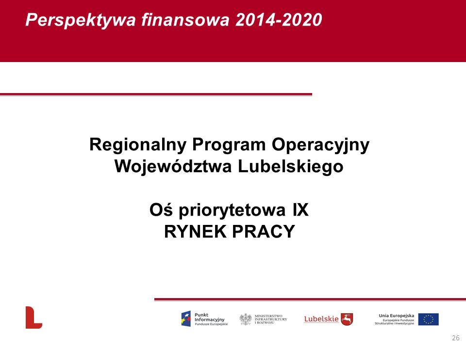 Perspektywa finansowa 2014-2020 26 Regionalny Program Operacyjny Województwa Lubelskiego Oś priorytetowa IX RYNEK PRACY