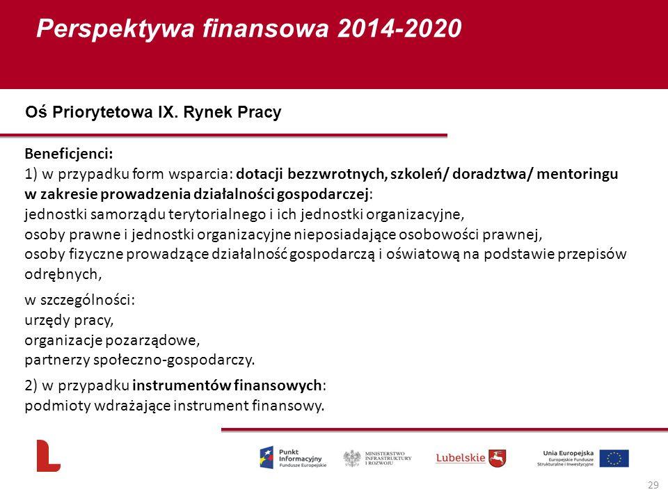 Perspektywa finansowa 2014-2020 29 Beneficjenci: 1) w przypadku form wsparcia: dotacji bezzwrotnych, szkoleń/ doradztwa/ mentoringu w zakresie prowadz