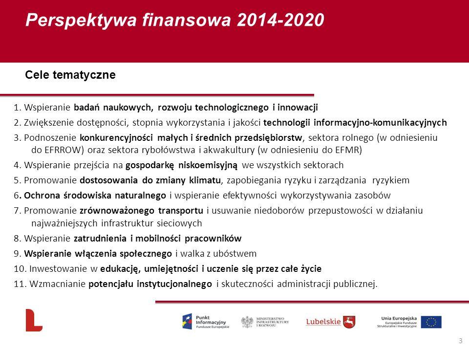Perspektywa finansowa 2014-2020 3 1. Wspieranie badań naukowych, rozwoju technologicznego i innowacji 2. Zwiększenie dostępności, stopnia wykorzystani