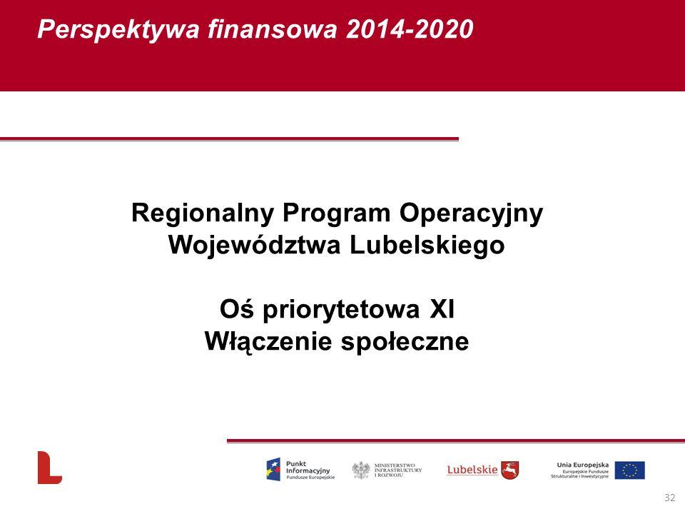 Perspektywa finansowa 2014-2020 32 Regionalny Program Operacyjny Województwa Lubelskiego Oś priorytetowa XI Włączenie społeczne