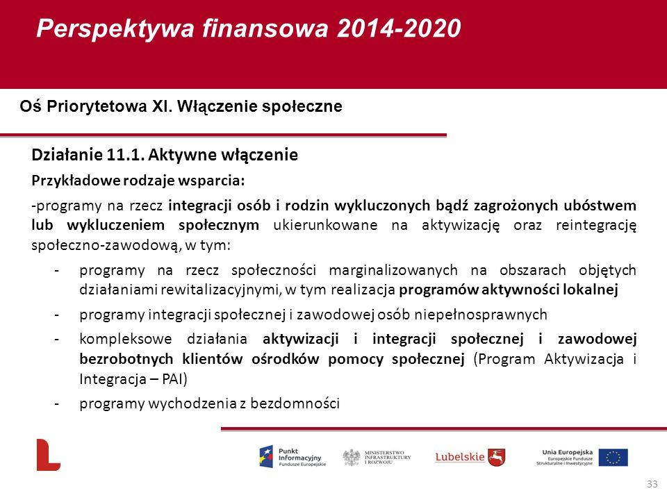 Perspektywa finansowa 2014-2020 33 Działanie 11.1. Aktywne włączenie Przykładowe rodzaje wsparcia: -programy na rzecz integracji osób i rodzin wyklucz