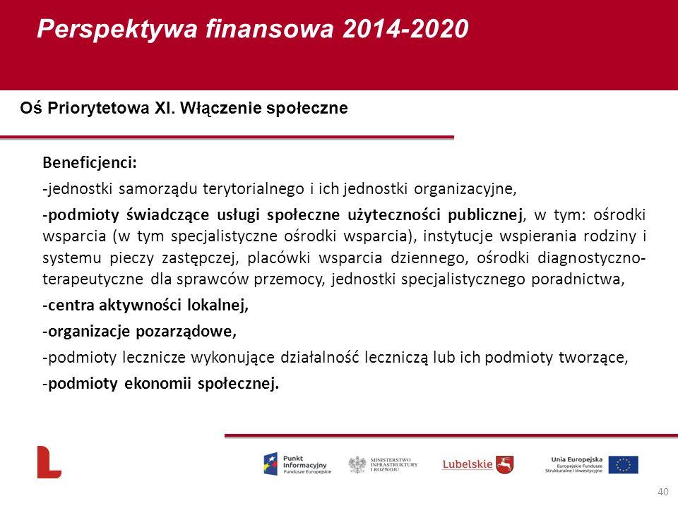 Perspektywa finansowa 2014-2020 40 Beneficjenci: -jednostki samorządu terytorialnego i ich jednostki organizacyjne, -podmioty świadczące usługi społeczne użyteczności publicznej, w tym: ośrodki wsparcia (w tym specjalistyczne ośrodki wsparcia), instytucje wspierania rodziny i systemu pieczy zastępczej, placówki wsparcia dziennego, ośrodki diagnostyczno- terapeutyczne dla sprawców przemocy, jednostki specjalistycznego poradnictwa, -centra aktywności lokalnej, -organizacje pozarządowe, -podmioty lecznicze wykonujące działalność leczniczą lub ich podmioty tworzące, -podmioty ekonomii społecznej.