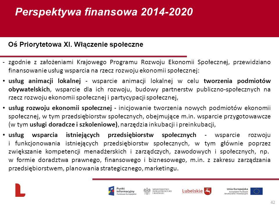 Perspektywa finansowa 2014-2020 42 -zgodnie z założeniami Krajowego Programu Rozwoju Ekonomii Społecznej, przewidziano finansowanie usług wsparcia na