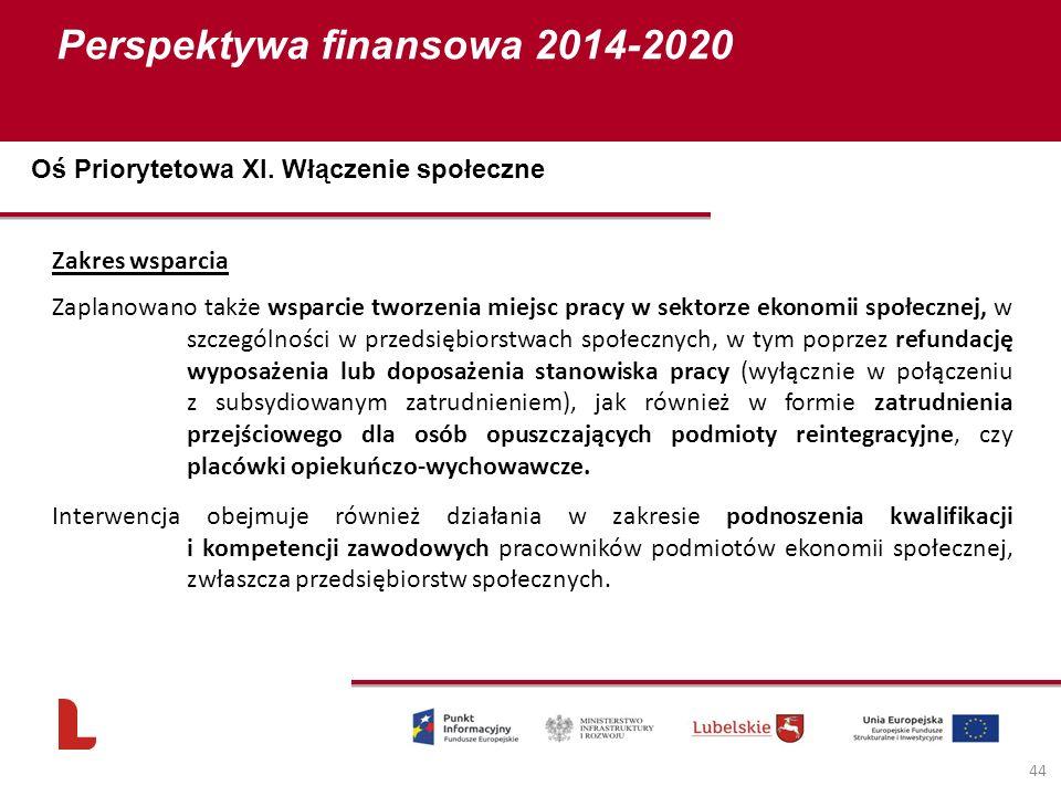 Perspektywa finansowa 2014-2020 44 Zakres wsparcia Zaplanowano także wsparcie tworzenia miejsc pracy w sektorze ekonomii społecznej, w szczególności w przedsiębiorstwach społecznych, w tym poprzez refundację wyposażenia lub doposażenia stanowiska pracy (wyłącznie w połączeniu z subsydiowanym zatrudnieniem), jak również w formie zatrudnienia przejściowego dla osób opuszczających podmioty reintegracyjne, czy placówki opiekuńczo-wychowawcze.