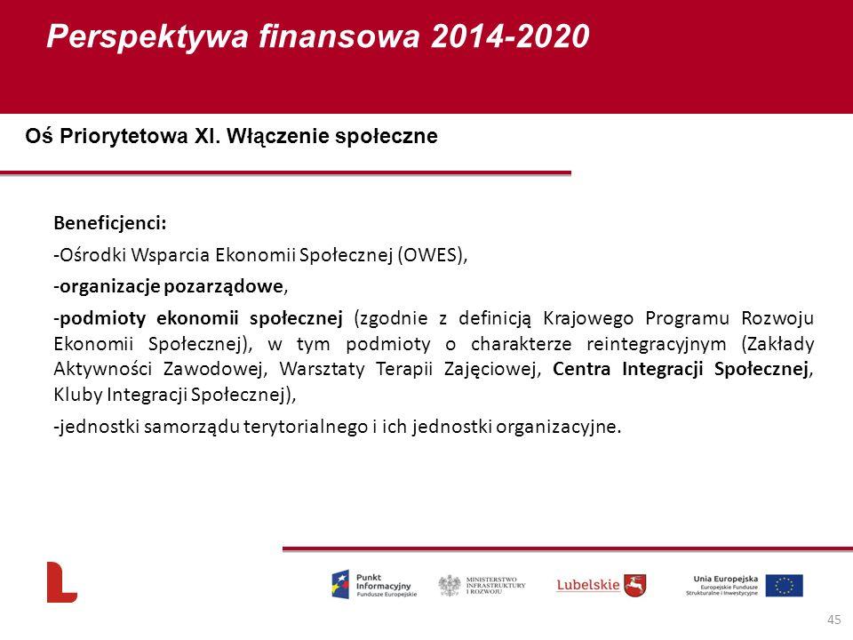 Perspektywa finansowa 2014-2020 45 Beneficjenci: -Ośrodki Wsparcia Ekonomii Społecznej (OWES), -organizacje pozarządowe, -podmioty ekonomii społecznej