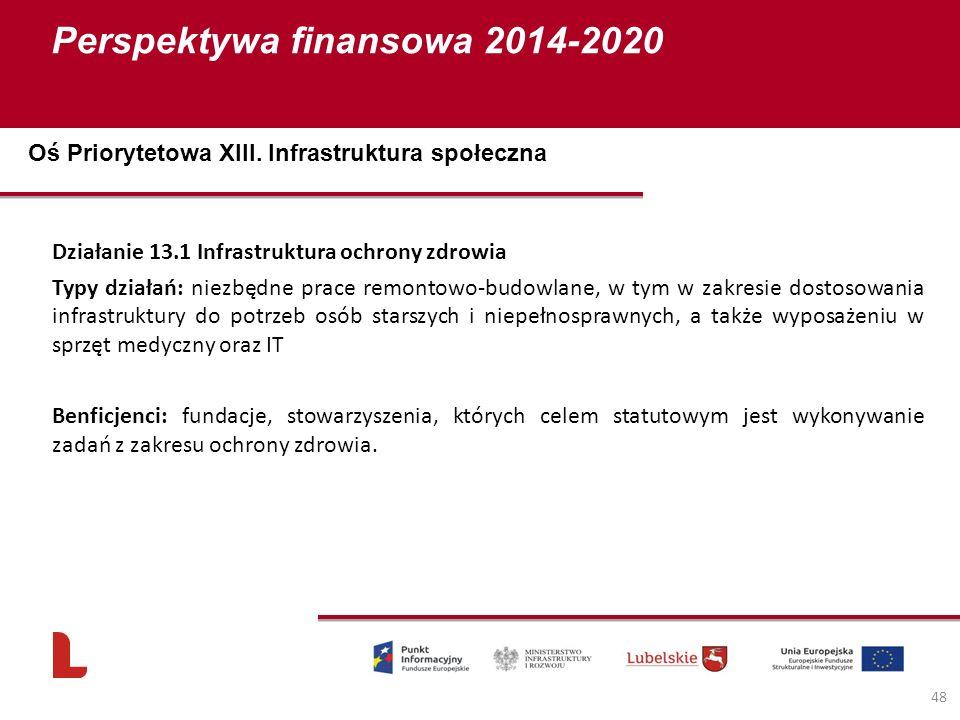 Perspektywa finansowa 2014-2020 48 Działanie 13.1 Infrastruktura ochrony zdrowia Typy działań: niezbędne prace remontowo-budowlane, w tym w zakresie dostosowania infrastruktury do potrzeb osób starszych i niepełnosprawnych, a także wyposażeniu w sprzęt medyczny oraz IT Benficjenci: fundacje, stowarzyszenia, których celem statutowym jest wykonywanie zadań z zakresu ochrony zdrowia.