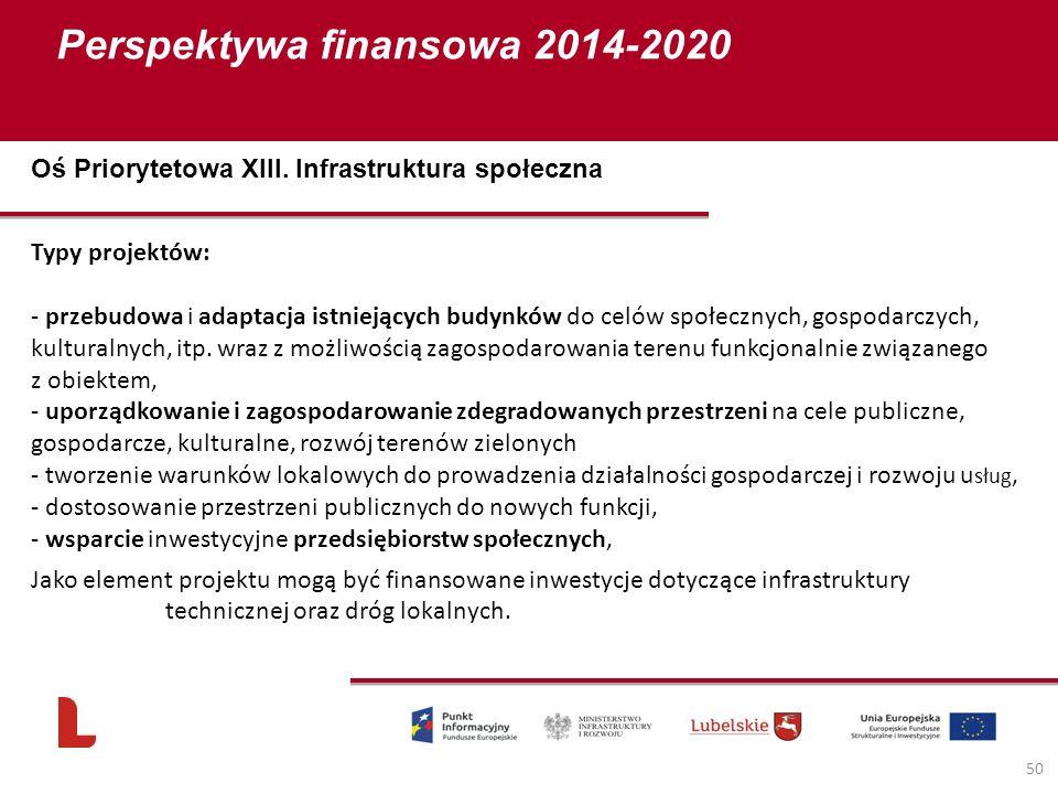 Perspektywa finansowa 2014-2020 50 Typy projektów: - przebudowa i adaptacja istniejących budynków do celów społecznych, gospodarczych, kulturalnych, i