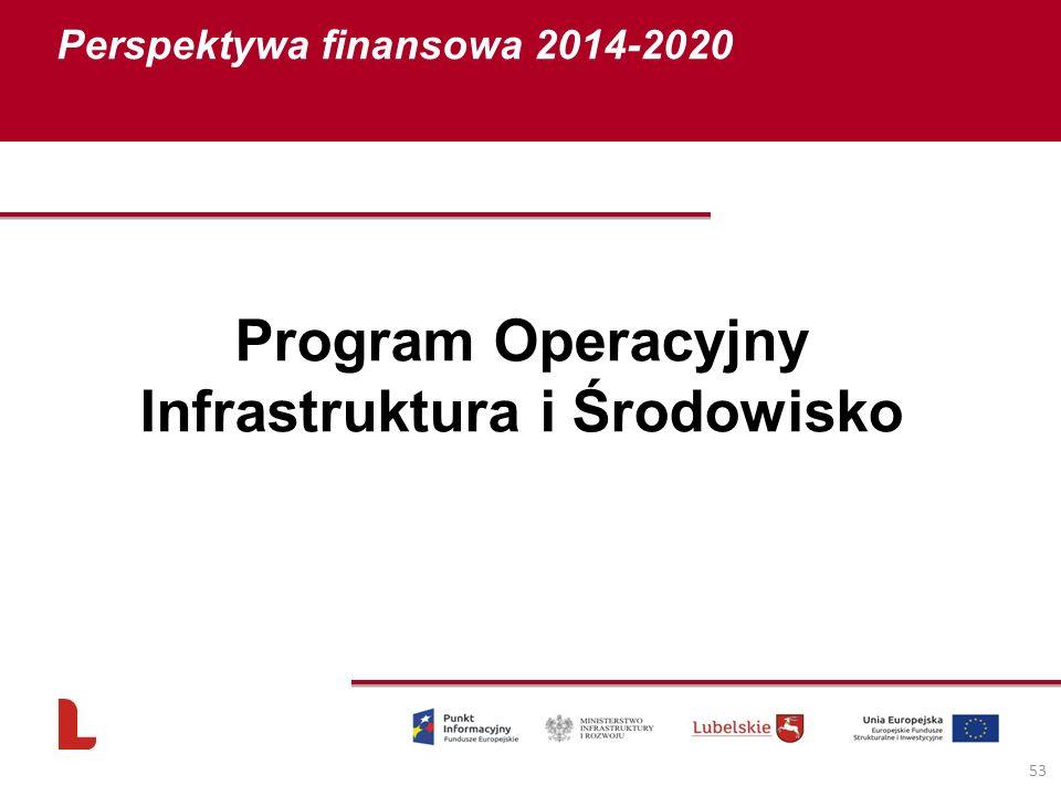 Perspektywa finansowa 2014-2020 53 Program Operacyjny Infrastruktura i Środowisko