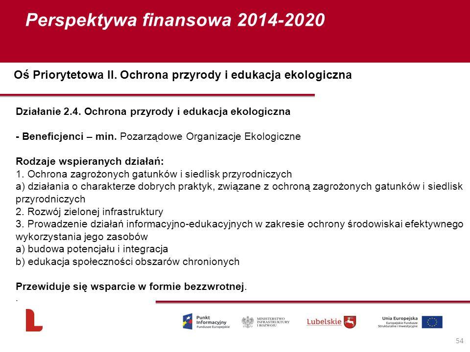 Perspektywa finansowa 2014-2020 54 Działanie 2.4. Ochrona przyrody i edukacja ekologiczna - Beneficjenci – min. Pozarządowe Organizacje Ekologiczne Ro
