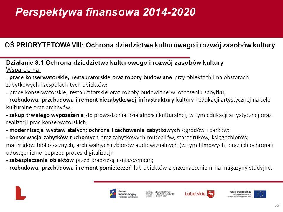Perspektywa finansowa 2014-2020 55 Działanie 8.1 Ochrona dziedzictwa kulturowego i rozwój zasobów kultury Wsparcie na: - prace konserwatorskie, restau