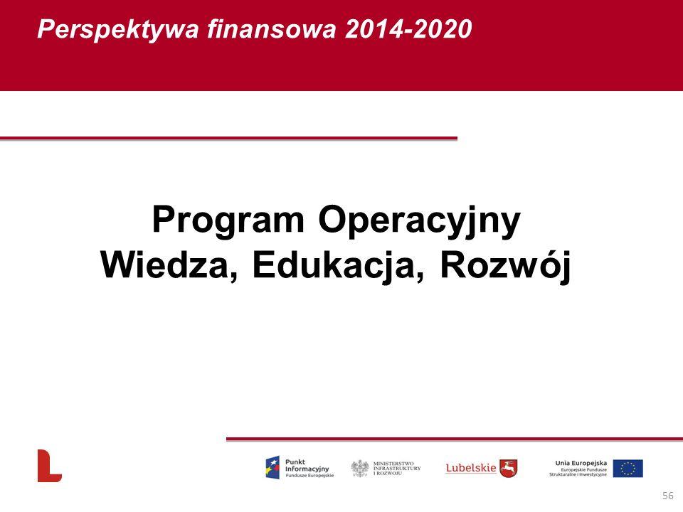 Perspektywa finansowa 2014-2020 56 Program Operacyjny Wiedza, Edukacja, Rozwój