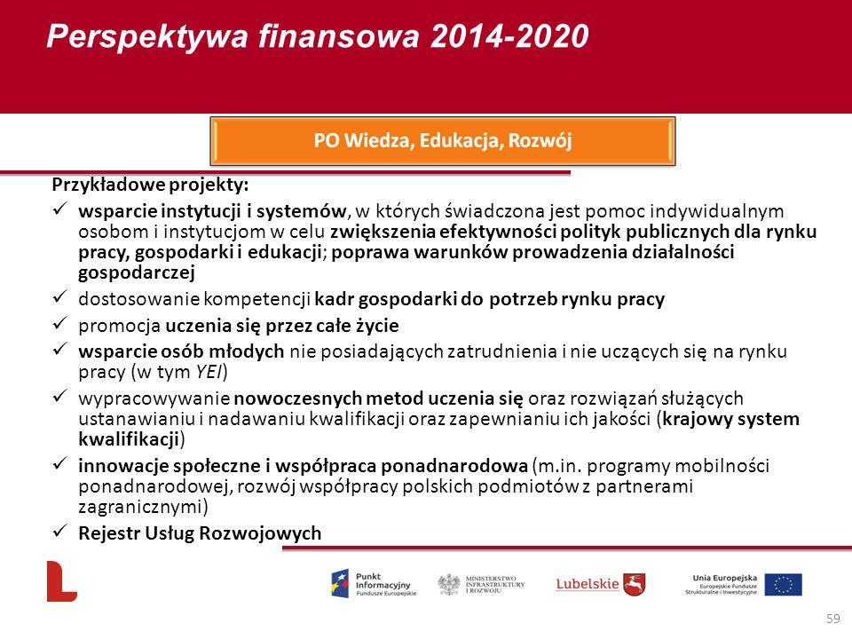Perspektywa finansowa 2014-2020 59 Przykładowe projekty: wsparcie instytucji i systemów, w których świadczona jest pomoc indywidualnym osobom i instytucjom w celu zwiększenia efektywności polityk publicznych dla rynku pracy, gospodarki i edukacji; poprawa warunków prowadzenia działalności gospodarczej dostosowanie kompetencji kadr gospodarki do potrzeb rynku pracy promocja uczenia się przez całe życie wsparcie osób młodych nie posiadających zatrudnienia i nie uczących się na rynku pracy (w tym YEI) wypracowywanie nowoczesnych metod uczenia się oraz rozwiązań służących ustanawianiu i nadawaniu kwalifikacji oraz zapewnianiu ich jakości (krajowy system kwalifikacji) innowacje społeczne i współpraca ponadnarodowa (m.in.
