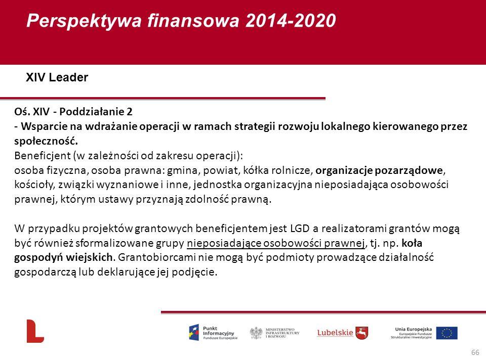 Perspektywa finansowa 2014-2020 66 Oś. XIV - Poddziałanie 2 - Wsparcie na wdrażanie operacji w ramach strategii rozwoju lokalnego kierowanego przez sp