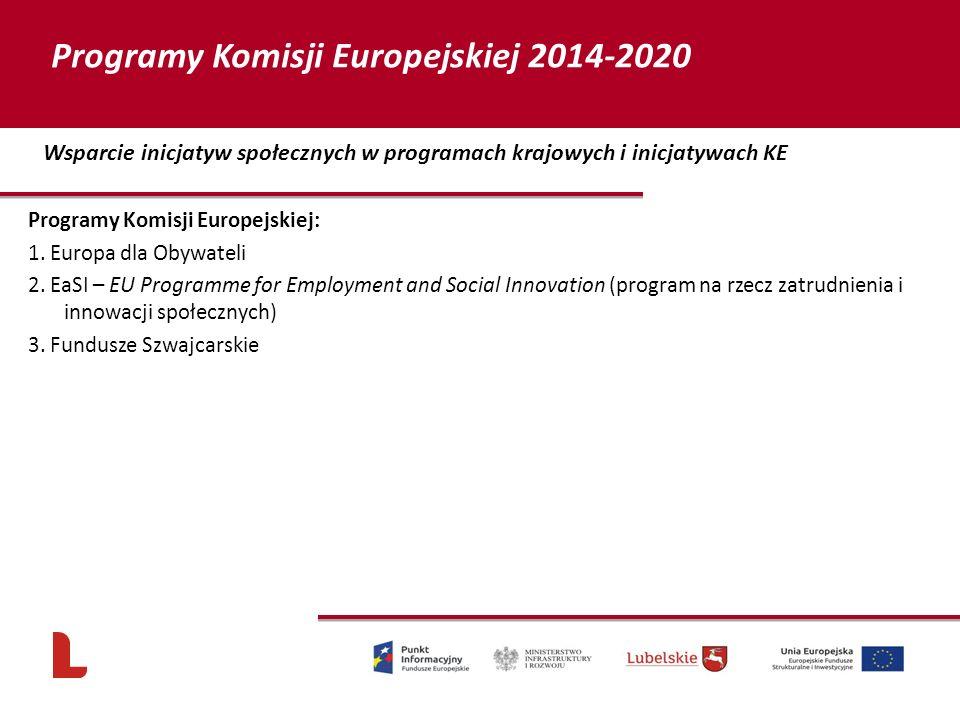 Programy Komisji Europejskiej: 1. Europa dla Obywateli 2. EaSI – EU Programme for Employment and Social Innovation (program na rzecz zatrudnienia i in