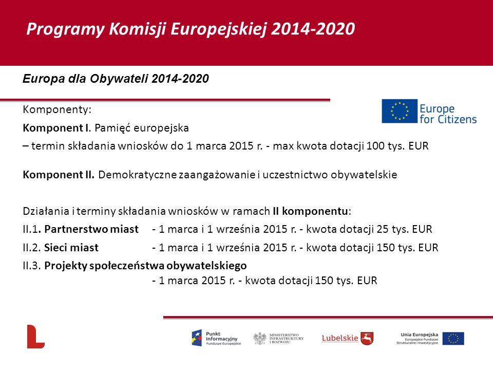 Komponenty: Komponent I. Pamięć europejska – termin składania wniosków do 1 marca 2015 r. - max kwota dotacji 100 tys. EUR Komponent II. Demokratyczne
