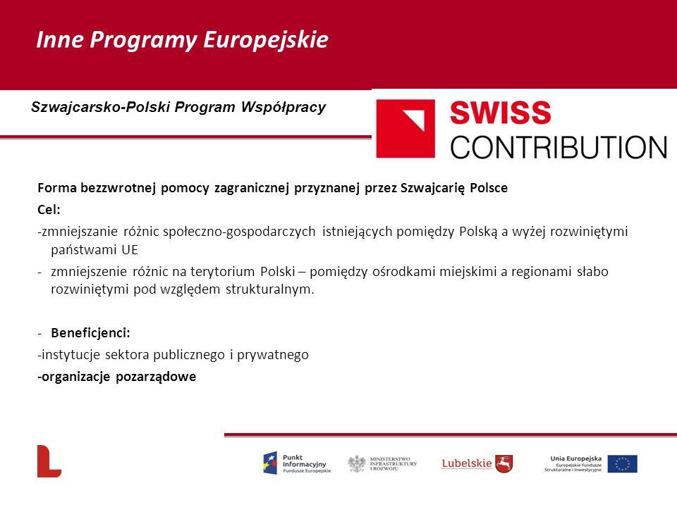 Forma bezzwrotnej pomocy zagranicznej przyznanej przez Szwajcarię Polsce Cel: -zmniejszanie różnic społeczno-gospodarczych istniejących pomiędzy Polską a wyżej rozwiniętymi państwami UE -zmniejszenie różnic na terytorium Polski – pomiędzy ośrodkami miejskimi a regionami słabo rozwiniętymi pod względem strukturalnym.