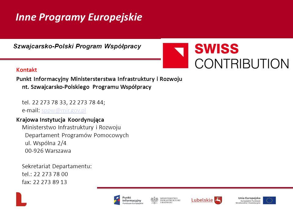 Kontakt Punkt Informacyjny Ministersterstwa Infrastruktury i Rozwoju nt. Szwajcarsko-Polskiego Programu Współpracy tel. 22 273 78 33, 22 273 78 44; e-