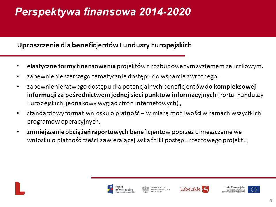 Perspektywa finansowa 2014-2020 9 elastyczne formy finansowania projektów z rozbudowanym systemem zaliczkowym, zapewnienie szerszego tematycznie dostępu do wsparcia zwrotnego, zapewnienie łatwego dostępu dla potencjalnych beneficjentów do kompleksowej informacji za pośrednictwem jednej sieci punktów informacyjnych (Portal Funduszy Europejskich, jednakowy wygląd stron internetowych), standardowy format wniosku o płatność – w miarę możliwości w ramach wszystkich programów operacyjnych, zmniejszenie obciążeń raportowych beneficjentów poprzez umieszczenie we wniosku o płatność części zawierającej wskaźniki postępu rzeczowego projektu, Uproszczenia dla beneficjentów Funduszy Europejskich