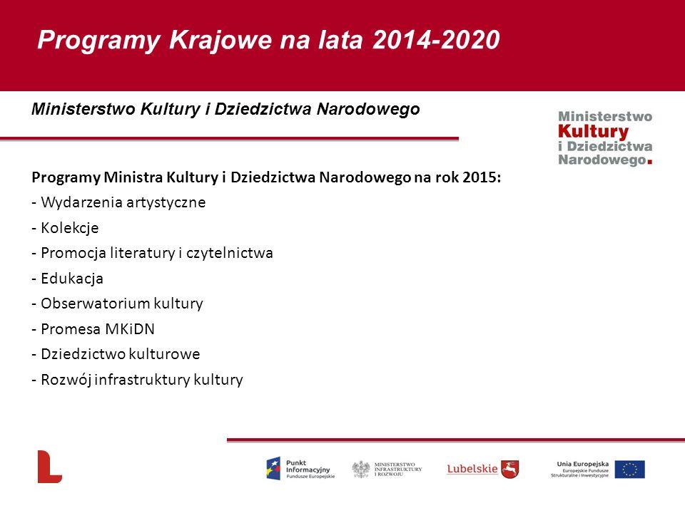 Programy Ministra Kultury i Dziedzictwa Narodowego na rok 2015: - Wydarzenia artystyczne - Kolekcje - Promocja literatury i czytelnictwa - Edukacja -
