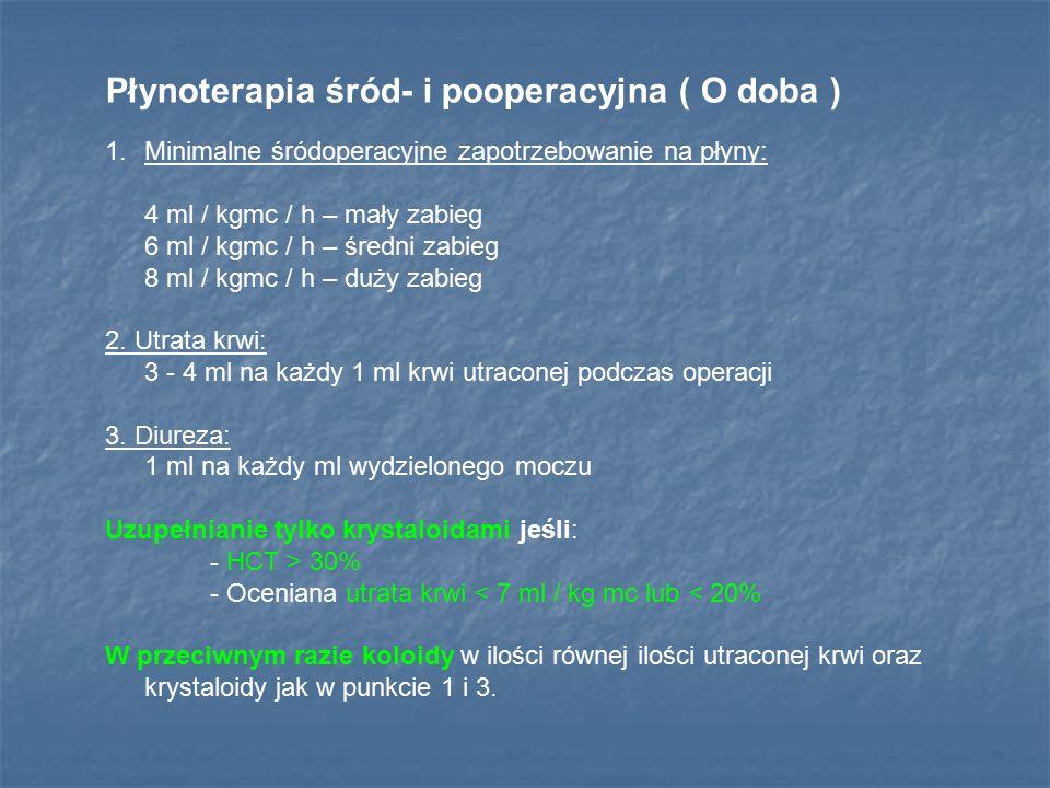 Płynoterapia śród- i pooperacyjna ( O doba ) 1.Minimalne śródoperacyjne zapotrzebowanie na płyny: 4 ml / kgmc / h – mały zabieg 6 ml / kgmc / h – śred
