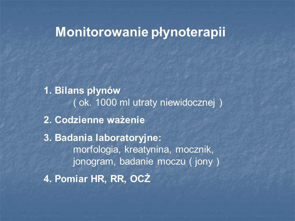 Monitorowanie płynoterapii 1.Bilans płynów ( ok. 1000 ml utraty niewidocznej ) 2.Codzienne ważenie 3.Badania laboratoryjne: morfologia, kreatynina, mo