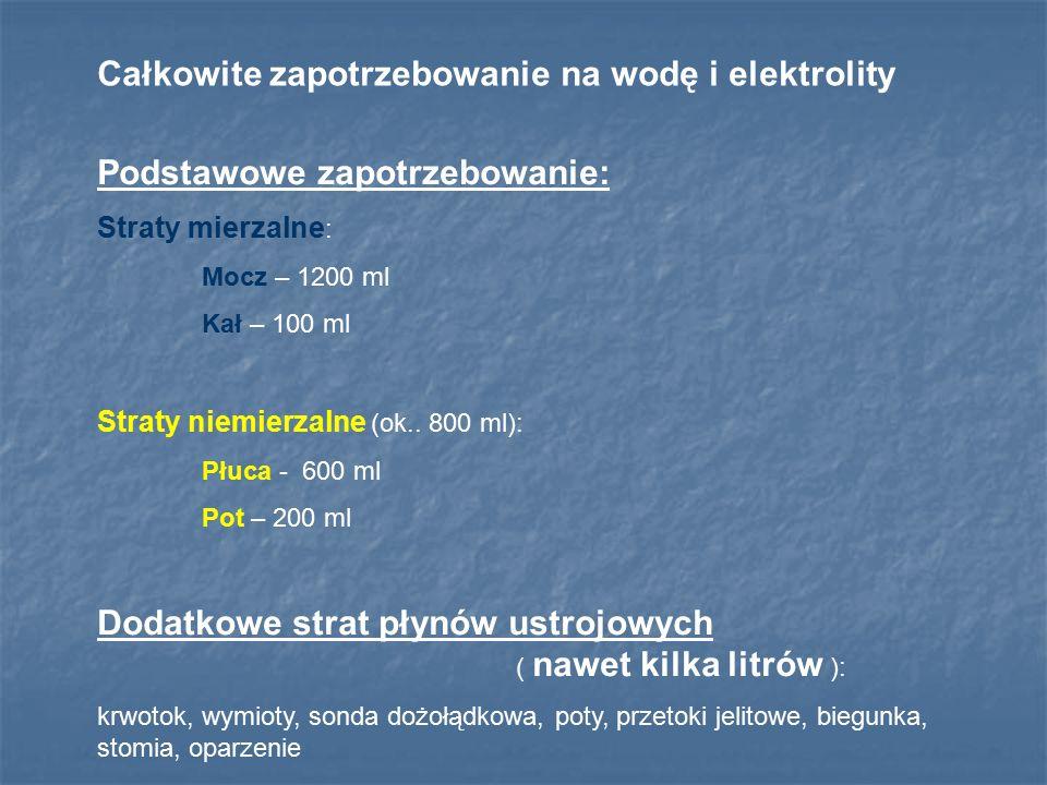 Całkowite zapotrzebowanie na wodę i elektrolity Podstawowe zapotrzebowanie: Straty mierzalne : Mocz – 1200 ml Kał – 100 ml Straty niemierzalne (ok.. 8