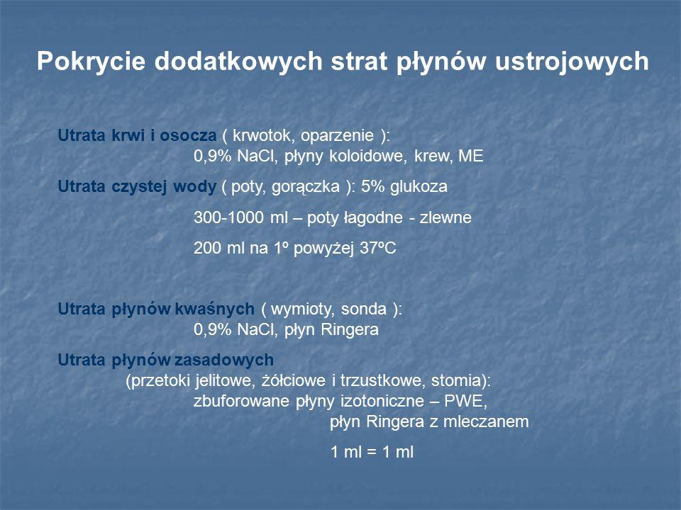 Płynoterapia przedoperacyjna ( głodówka ) Ilość płynów = ( 60 ml + 1 ml na każdy kg mc powyżej 20 kg ) x liczba godzin głodzenia Płyny nieelektrolitowe i hipotoniczne ( utrata głównie płynów nieelektrolitowych ): 5% glukoza, Glu/NaCl 2:1.