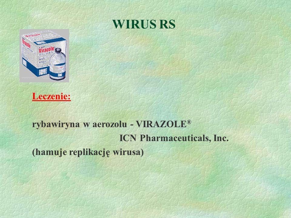 WIRUS RS Leczenie: rybawiryna w aerozolu - VIRAZOLE ® ICN Pharmaceuticals, Inc. (hamuje replikację wirusa)