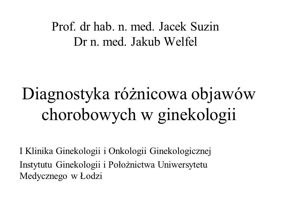 Prof. dr hab. n. med. Jacek Suzin Dr n. med. Jakub Welfel Diagnostyka różnicowa objawów chorobowych w ginekologii I Klinika Ginekologii i Onkologii Gi