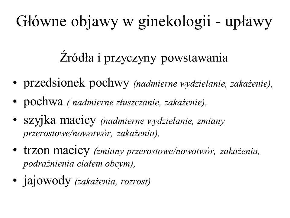 Główne objawy w ginekologii - upławy Źródła i przyczyny powstawania przedsionek pochwy (nadmierne wydzielanie, zakażenie), pochwa ( nadmierne złuszczanie, zakażenie), szyjka macicy (nadmierne wydzielanie, zmiany przerostowe/nowotwór, zakażenia), trzon macicy (zmiany przerostowe/nowotwór, zakażenia, podrażnienia ciałem obcym), jajowody (zakażenia, rozrost)