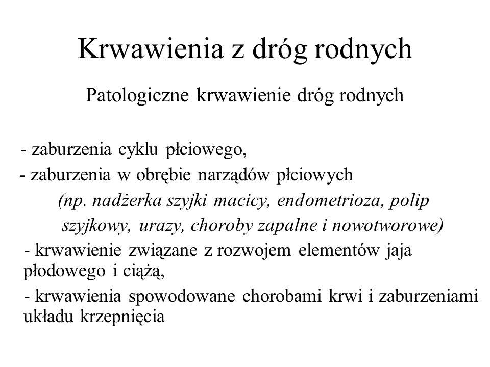 Krwawienia z dróg rodnych Patologiczne krwawienie dróg rodnych - zaburzenia cyklu płciowego, - zaburzenia w obrębie narządów płciowych (np. nadżerka s