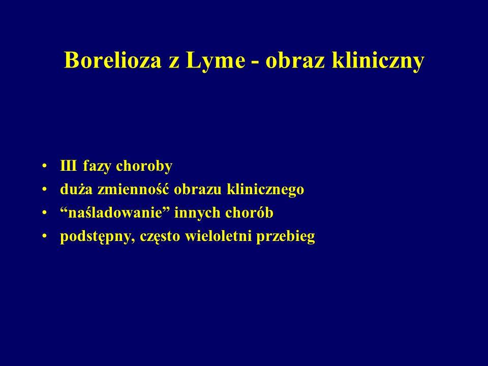 """Borelioza z Lyme - obraz kliniczny III fazy choroby duża zmienność obrazu klinicznego """"naśladowanie"""" innych chorób podstępny, często wieloletni przebi"""